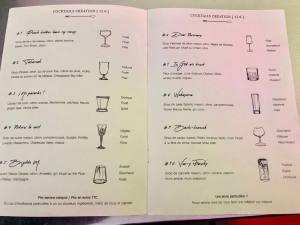 Bar à cocktails Aix-en-Provence Celeste carte