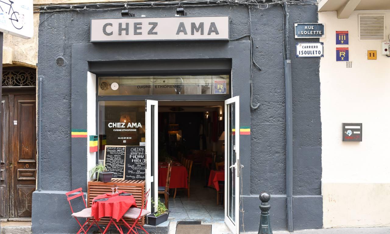 Chez Ama restaurant ethiopien Aix en Provence vitrine